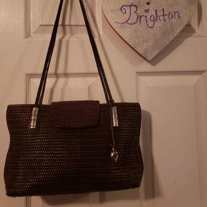 Brighton dark brown woven purse